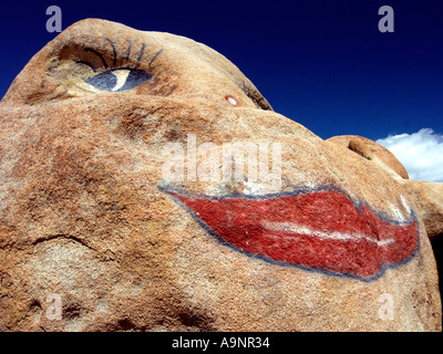 Decorated/Painted rock in Alabama Hills California - Stock Photo