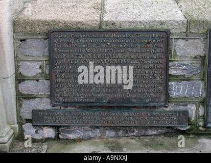 bronze plaque on Plymouth Barbican  commemorating the Pilgrim Fathers  voyage to america which started at the mayflower - Stock Photo