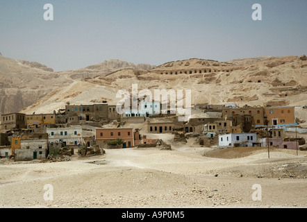Typical Egyptian village near the Valley of the Kings - Stock Photo