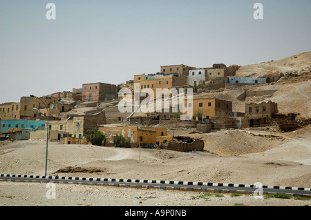 Typical Egyptian village close to the Valley of the Queens, Luxor, Egypt. - Stock Photo