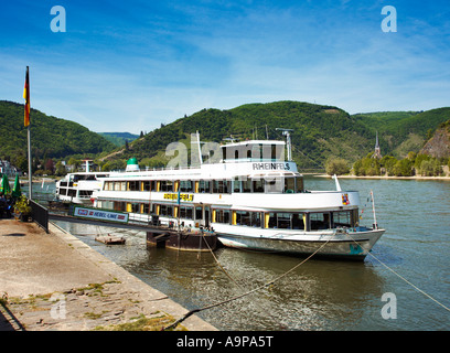 Germany - Rhine river cruise boat docked at the river front in Boppard on the River Rhine Germany Europe - Stock Photo