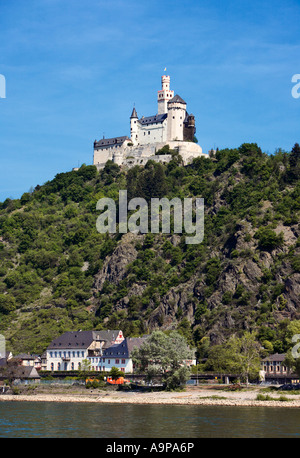 Castle Marksburg near Braubach above the River Rhine, Rhineland, Germany, Europe - Stock Photo