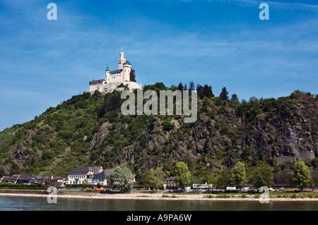 Castle Marksburg near Braubach on the River Rhine, Rhineland, Germany, Europe - Stock Photo