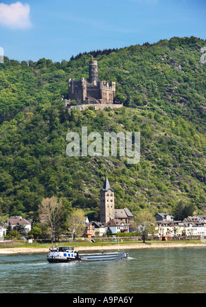 Castle Maus in the Rhine Valley and the village of Wellmich, Rhineland, Germany Europe - Stock Photo