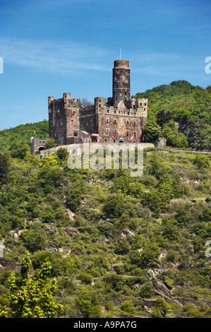 Castle Maus in the Rhine Valley above the village of Wellmich, Rhineland, Germany, Europe - Stock Photo