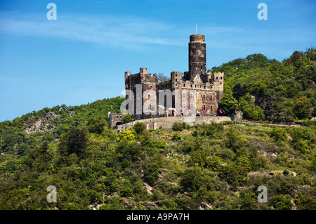 Castle Maus, Rhine Castle in the Rhine Valley above the village of Wellmich, Rhineland, Germany Europe - Stock Photo