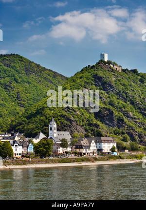 Kamp Bornhofen village on the Rhine river with Sterrenberg Castle, Rhineland, Rhine River, Germany Europe - Stock Photo