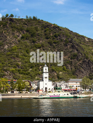 St Goarshausen and River Rhine car ferry, Rhineland, Germany, Europe - Stock Photo