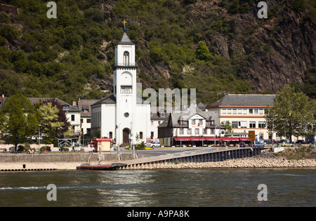 St Goarshausen on the Rhine River in Germany Europe - Stock Photo