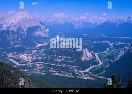 Aerial View of the Town of Banff and Area from Sulphur Mountain in Banff National Park in the Canadian Rockies in - Stock Photo