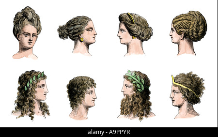 Ancient Greek hairstyles of women top row and men bottom row. Hand-colored woodcut - Stock Photo