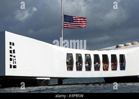 USS Arizona National Monument and cemetery Pearl Harbor Hawaii - Stock Photo