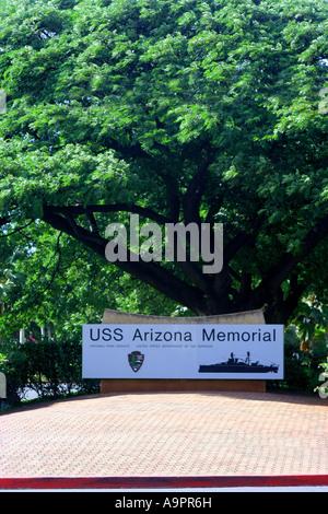 USS Arizona Memorial entrance sign Oahu Hawaii - Stock Photo