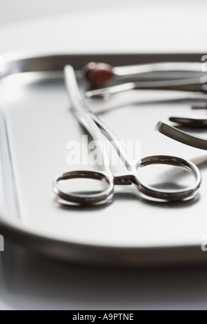 Tray of surgical scissors - Stock Photo