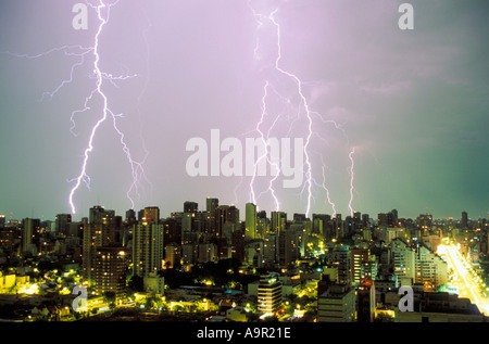 Lightning storm over Buenos Aires - Stock Photo