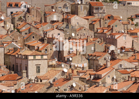 View looking down onto Dubrovnik old town - Stock Photo