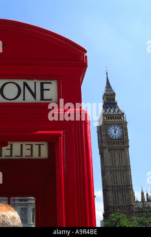 Telephone Box At One O Clock In London England UK - Stock Photo
