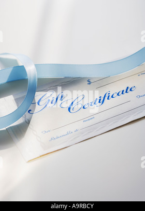 Close up of gift certificate and ribbon