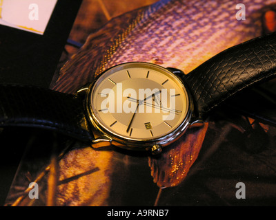 Longines mens luxury watch with leather strap - Stock Photo