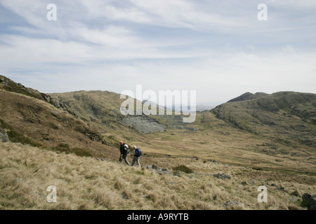 Approaching Moel Hebog from the south-west in Snowdonia, North Wales - Stock Photo