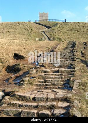 Steps to Rivington Pike at Horwich near Bolton, England UK - Stock Photo