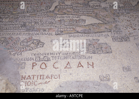 Part of the Ancient Madaba Mosaic Map Jordan - Stock Photo