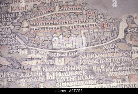 Walled city of Jerusalem Part of the Ancient Madaba Mosaic Map  Jordan - Stock Photo