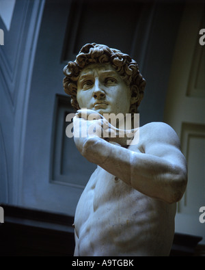 STATUE OF MICHELANGELO DAVID ACCADEMIA DI BELLE ARTI FLORENCE TUSCANY ITALY - Stock Photo