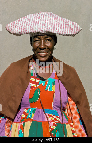 Herero Woman wearing traditional clothes and headdress Botswana - Stock Photo