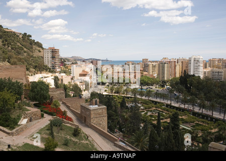 Malaga Costa del Sol Spain View over Puerta Oscura gardens and bullring from Alcazaba - Stock Photo