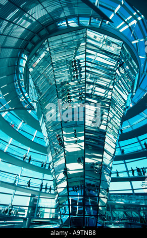 Berlin Reichstag dome by Norman Forster interieur - Stock Photo
