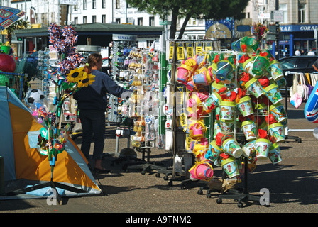 Southend on Sea seafront pavement display of beach goods on sale - Stock Photo