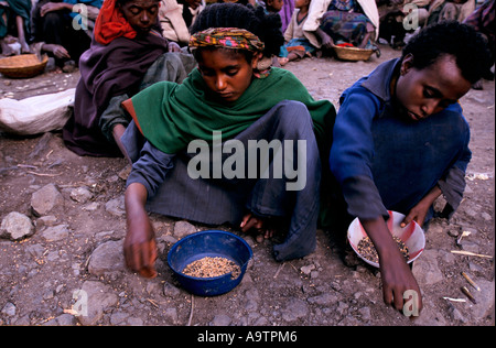 'ETHIOPIA, INEVITABLE FAMINE', CHILDREN GATHER GRAIN FROM A FOOD DISTRIBUTION CENTRE IN GERADO IN ETHIOPIAS HIGHLANDS, - Stock Photo
