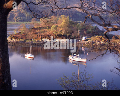 Loch Leven near Ballachulish moored boats and reflections - Stock Photo