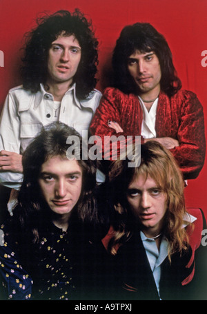 QUEEN - UK group with from top left clockwise: Brian May, Freddie Mercury, Roger Taylor, John Deacon - Stock Photo