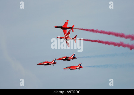 Royal Air Force Hawk T1A aerobatic display team Red Arrows at the Newtownards Air Show County Down Northern Ireland - Stock Photo