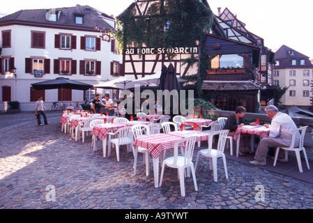 Restaurant in the Petite France district  Strasbourg France - Stock Photo