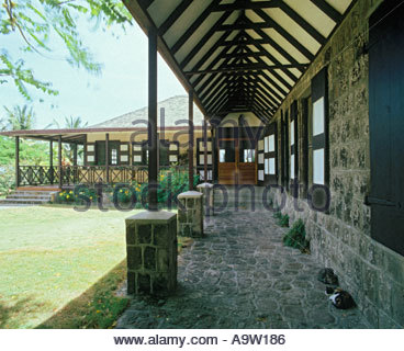 Plantation house restored as an inn CRONEY S OLD MANOR ESTATE on the island of Nevis in the Caribbean - Stock Photo
