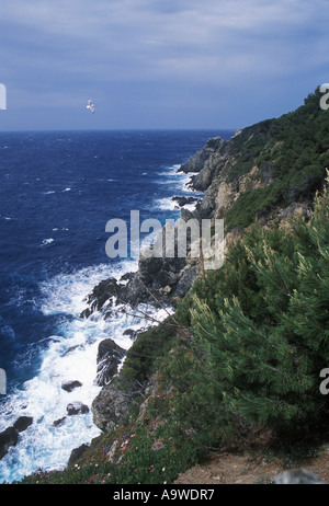 Rocky coast at Cap d Arme Porquerolles Hyeres Islands Cote d Azur Var France - Stock Photo