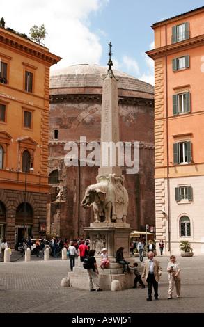 Obelisk of Santa Maria sopra Minerva by Bernini in the Piazza della Minerva in Rome Italy - Stock Photo