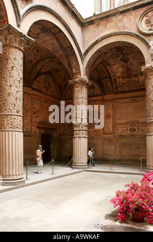 Courtyard in the Palazzo Vecchio in Florence Italy - Stock Photo