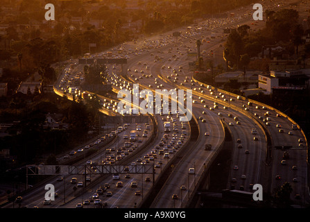 AERIAL ROAD TRAFFIC CONGESTION SANTA MONICA FREEWAY LOS ANGELES CALIFORNIA USA - Stock Photo