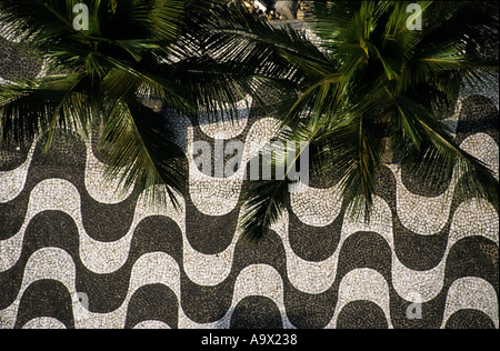 Rio de Janeiro, Brazil. Pavement by Copacabana beach with plam trees from above. - Stock Photo