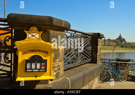 Post box along Elbe River in Dresden Germany EU - Stock Photo