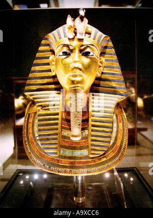 The death mask of pharaoah Tutankhamon at the Egyptian Museum in Cairo Egypt - Stock Photo