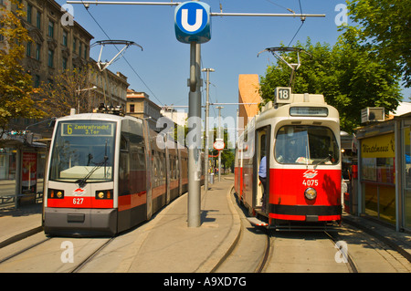 Trams at a stop in Vienna Austria EU - Stock Photo