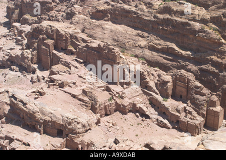 Looking accross to the Royal Tombs from Jebel Madhbah in Petra Jordan - Stock Photo