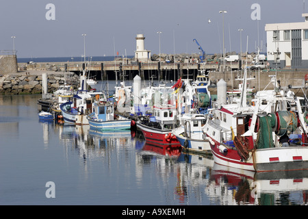 fishing boats in harbour, France, Brittany, Loire Atlantique, La Turballe - Stock Photo