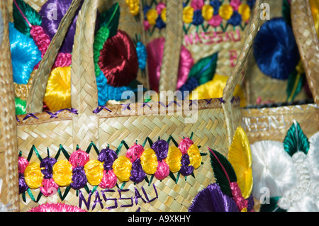 Closeup of colourful embroidered straw bags on display Port Lucaya Marketplace Grand Bahama - Stock Photo