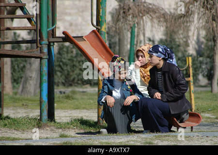 Young girls in headscarves, Istanbul, Turkey - Stock Photo